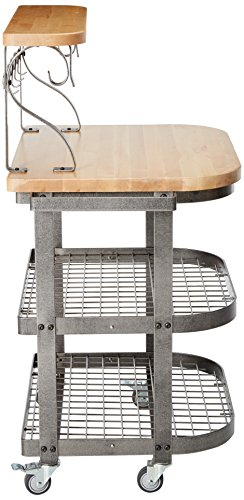 Enclume Bakers Cart With Ash Butcher Block Hammered Steel 0 1
