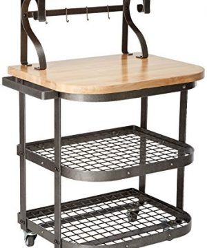 Enclume Bakers Cart With Ash Butcher Block Hammered Steel 0 300x360