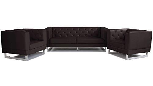 Espresso Zeta Tufted Sofa Set With Armchairs 0 0