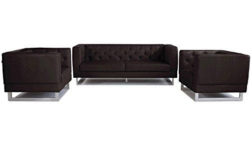 Espresso Zeta Tufted Sofa Set With Armchairs 0