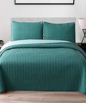 Exclusivo Mezcla Ultrasonic Reversible 2 Piece Twin Size Quilt Set With Pillow Shams Lightweight BedspreadCoverletBed Cover Turquoise 68x88 0 300x360