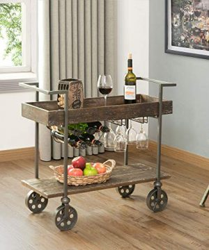 FirsTime Co Factory Row Industrial Farmhouse Bar Cart American Crafted Aged Black 30 X 15 X 325 70125 0 300x360
