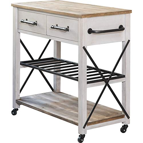 FirsTime Co White Aurora Farmhouse Kitchen Cart American Crafted Aged White 315 X 16 X 315 70126 0 0