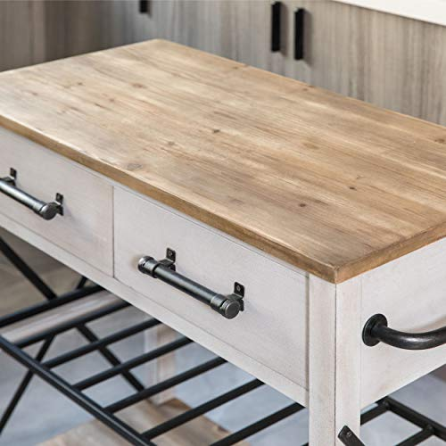 FirsTime Co White Aurora Farmhouse Kitchen Cart American Crafted Aged White 315 X 16 X 315 70126 0 1