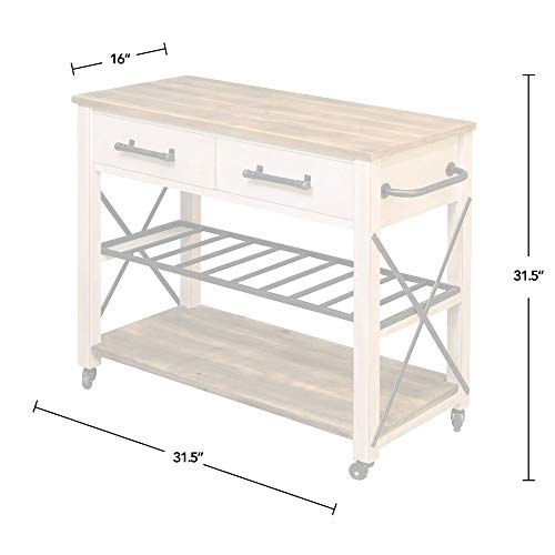 FirsTime Co White Aurora Farmhouse Kitchen Cart American Crafted Aged White 315 X 16 X 315 70126 0 2