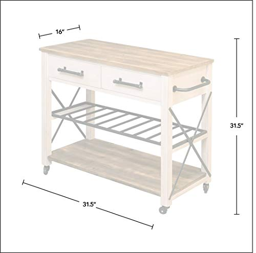 FirsTime Co White Aurora Farmhouse Kitchen Cart American Crafted Aged White 315 X 16 X 315 70126 0 3