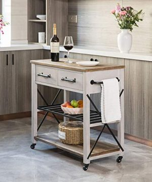 FirsTime Co White Aurora Farmhouse Kitchen Cart American Crafted Aged White 315 X 16 X 315 70126 0 300x360