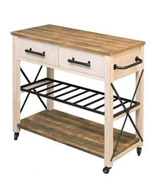 FirsTime Co White Aurora Farmhouse Kitchen Cart American Crafted Aged White 315 X 16 X 315 70126 0 4 300x360