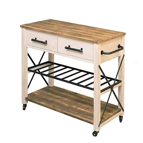 FirsTime Co White Aurora Farmhouse Kitchen Cart American Crafted Aged White 315 X 16 X 315 70126 0 4