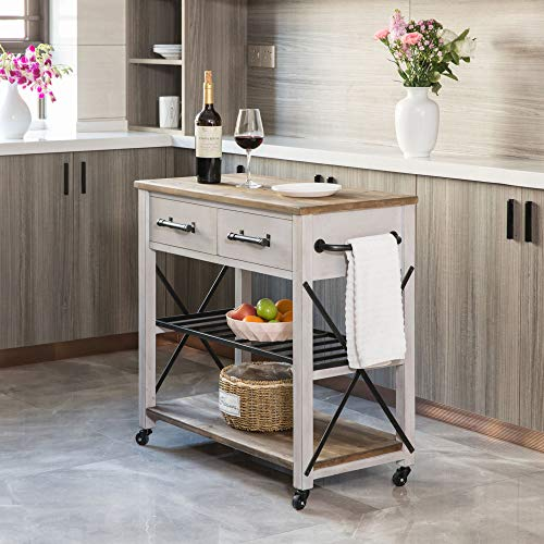 FirsTime Co White Aurora Farmhouse Kitchen Cart American Crafted Aged White 315 X 16 X 315 70126 0