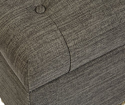 First Hill Grey 5th Ave Modern Charcoal Linen Upholstered Storage Ottoman GRAY 0 1