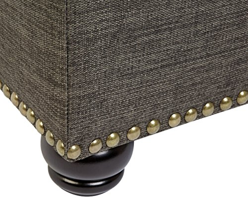 First Hill Grey 5th Ave Modern Charcoal Linen Upholstered Storage Ottoman GRAY 0 2
