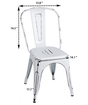 Furmax Metal Chairs IndoorOutdoor Use Stackable Chic Dining Bistro Cafe Side Chairs Set Of 4 Distressed White 0 0 300x360
