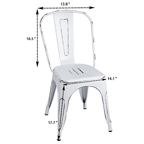 Furmax Metal Chairs IndoorOutdoor Use Stackable Chic Dining Bistro Cafe Side Chairs Set Of 4 Distressed White 0 0