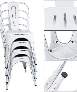 Furmax Metal Chairs IndoorOutdoor Use Stackable Chic Dining Bistro Cafe Side Chairs Set Of 4 Distressed White 0 2 300x360