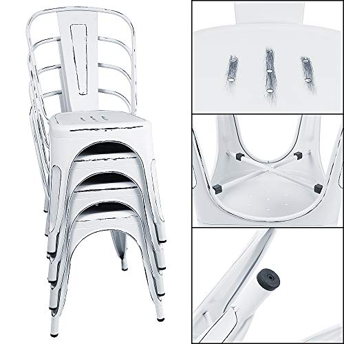 Furmax Metal Chairs IndoorOutdoor Use Stackable Chic Dining Bistro Cafe Side Chairs Set Of 4 Distressed White 0 2