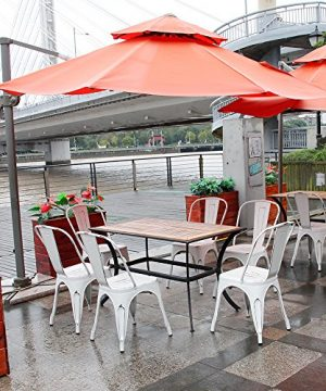 Furmax Metal Chairs IndoorOutdoor Use Stackable Chic Dining Bistro Cafe Side Chairs Set Of 4 Distressed White 0 4 300x360