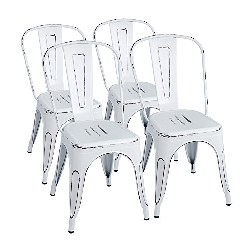 Furmax Metal Chairs IndoorOutdoor Use Stackable Chic Dining Bistro Cafe Side Chairs Set Of 4 Distressed White 0