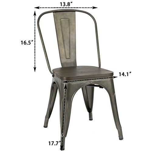 Furmax Metal Dining Chair Indoor Outdoor Use Stackable Chic Dining Bistro Cafe Side Metal Chairs Set Of 4Gun 0 0