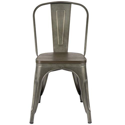 Furmax Metal Dining Chair Indoor Outdoor Use Stackable Chic Dining Bistro Cafe Side Metal Chairs Set Of 4Gun 0 2