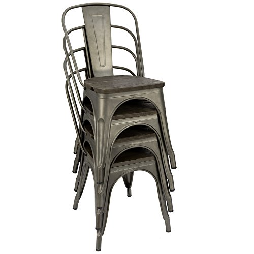 Furmax Metal Dining Chair Indoor Outdoor Use Stackable Chic Dining Bistro Cafe Side Metal Chairs Set Of 4Gun 0 3