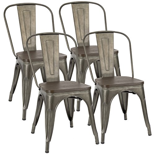 Furmax Metal Dining Chair Indoor Outdoor Use Stackable Chic Dining Bistro Cafe Side Metal Chairs Set Of 4Gun 0