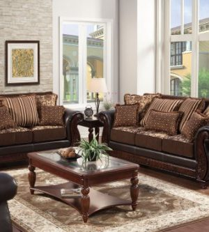 Furniture Of America Esmeralda 2 Piece Fabric And Leatherette Sofa Set Dark Brown Finish 0 300x333