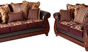 Furniture Of America Kildred 2 Piece Fabric And Leatherette Sofa Set Burgundy 0 300x176