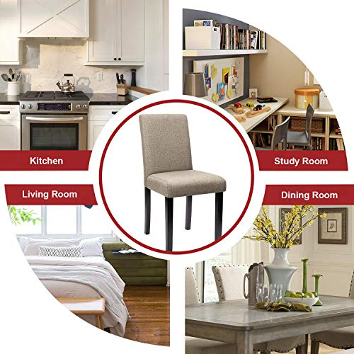 Furniwell Dining Chairs Fabric Upholstered Parson Urban Style Kitchen Side Padded Chair With Solid Wood Legs Set Of 4 Beige 0 1