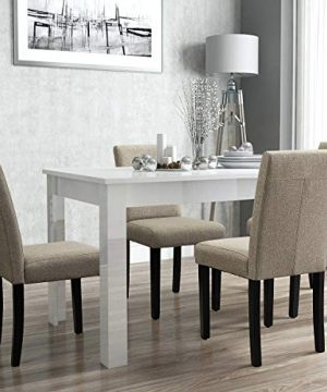 Furniwell Dining Chairs Fabric Upholstered Parson Urban Style Kitchen Side Padded Chair With Solid Wood Legs Set Of 4 Beige 0 2 300x360
