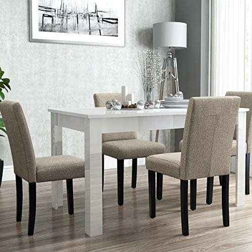 Furniwell Dining Chairs Fabric Upholstered Parson Urban Style Kitchen Side Padded Chair With Solid Wood Legs Set Of 4 Beige 0 2
