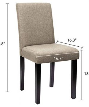 Furniwell Dining Chairs Fabric Upholstered Parson Urban Style Kitchen Side Padded Chair With Solid Wood Legs Set Of 4 Beige 0 4 300x360