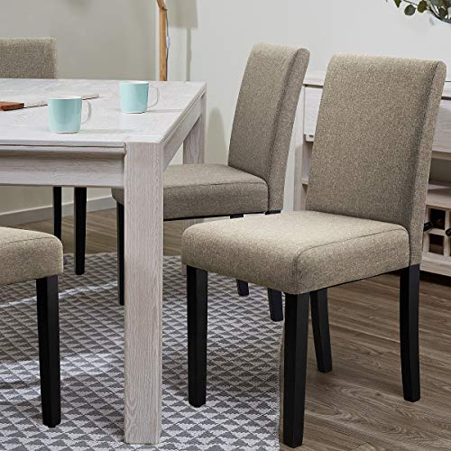 Furniwell Dining Chairs Fabric Upholstered Parson Urban Style Kitchen Side Padded Chair With Solid Wood Legs Set Of 4 Beige 0