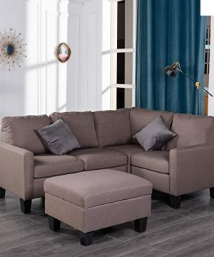 GOOD GRACIOUS Modular Convertible Sectional Sofa Set With Storage Ottoman For Living Room L Shaped Sofa Couch With Modern Microfiber Fabric Brown 81x5725x35 0 300x360