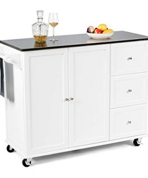 Giantex Kitchen Cart With Stainless Steel Countertop Kitchen Island Rolling Trolley With Towel Holder And Spice Rack 3 Drawers Adjustable Shelves 2 Door Cabinet Ample Storage Space White 0 300x360
