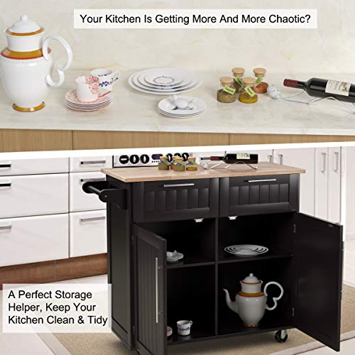 Giantex Kitchen Island Cart Rolling Storage Trolley Cart Home And Restaurant Serving Utility Cart With DrawersCabinet Towel Rack And Wood Top 0 1