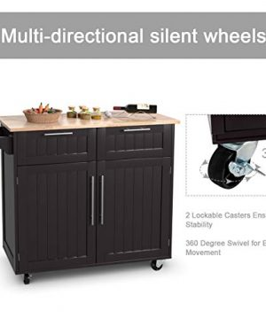 Giantex Kitchen Island Cart Rolling Storage Trolley Cart Home And Restaurant Serving Utility Cart With DrawersCabinet Towel Rack And Wood Top 0 2 300x360