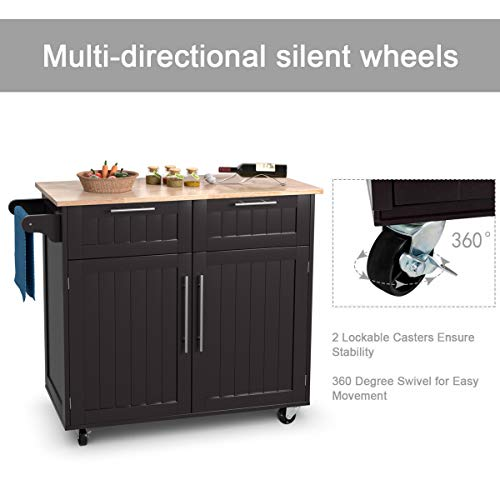 Giantex Kitchen Island Cart Rolling Storage Trolley Cart Home And Restaurant Serving Utility Cart With DrawersCabinet Towel Rack And Wood Top 0 2