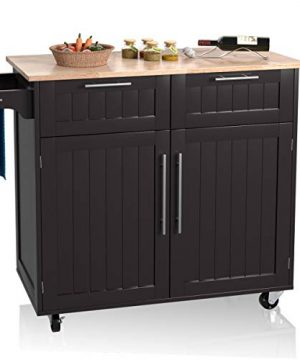 Giantex Kitchen Island Cart Rolling Storage Trolley Cart Home And Restaurant Serving Utility Cart With DrawersCabinet Towel Rack And Wood Top 0 300x360