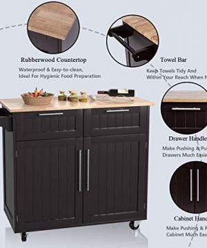 Giantex Kitchen Island Cart Rolling Storage Trolley Cart Home And Restaurant Serving Utility Cart With DrawersCabinet Towel Rack And Wood Top 0 4 300x360