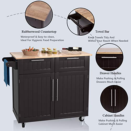 Giantex Kitchen Island Cart Rolling Storage Trolley Cart Home And Restaurant Serving Utility Cart With DrawersCabinet Towel Rack And Wood Top 0 4