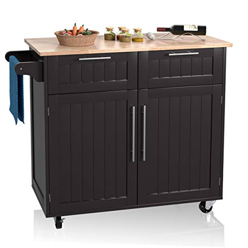 Giantex Kitchen Island Cart Rolling Storage Trolley Cart Home And Restaurant Serving Utility Cart With DrawersCabinet Towel Rack And Wood Top 0