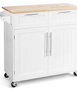 Giantex Kitchen Island Cart Rolling Storage Trolley Cart Home And Restaurant Serving Utility Cart With DrawersCabinet Towel Rack And Wood Top White 0 300x360