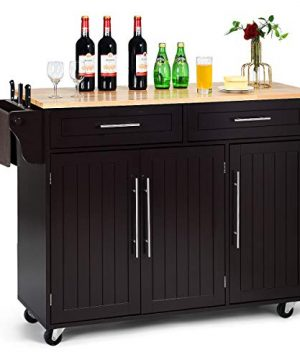 Giantex Kitchen Island Cart Rolling Storage Trolley Cart With Lockable Castors 2 Drawers 3 Door Cabinet Towel Handle Knife Block For Dining Room Restaurant Use Brown 0 300x360