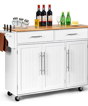 Giantex Kitchen Island Cart Rolling Storage Trolley Cart With Lockable Castors 2 Drawers 3 Door Cabinet Towel Handle Knife Block For Dining Room Restaurant Use White 0 300x360