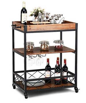 Giantex Kitchen Trolley Cart Island Rolling Serving Carts Utility Cart 3 Tier Storage Shelf With Glass Holder Handle Racks Lockable Caster Kitchen Carts Islands WRemovable Wood Box Container 0 300x360