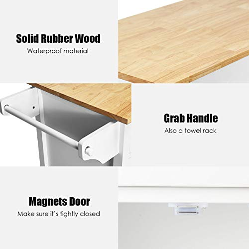 Giantex Portable Kitchen Rolling Island Cart Wood Table Top Island Serving Utility Kitchen Storage Trolley Carts WCabinet Drawer White 0 0