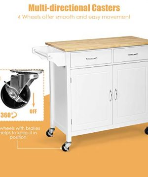 Giantex Portable Kitchen Rolling Island Cart Wood Table Top Island Serving Utility Kitchen Storage Trolley Carts WCabinet Drawer White 0 1 300x360