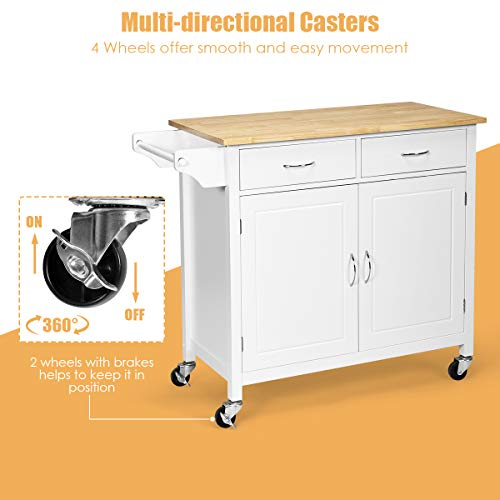 Giantex Portable Kitchen Rolling Island Cart Wood Table Top Island Serving Utility Kitchen Storage Trolley Carts WCabinet Drawer White 0 1
