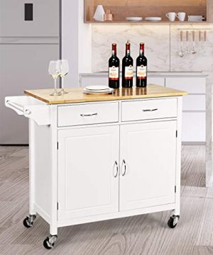 Giantex Portable Kitchen Rolling Island Cart Wood Table Top Island Serving Utility Kitchen Storage Trolley Carts WCabinet Drawer White 0 2 300x360